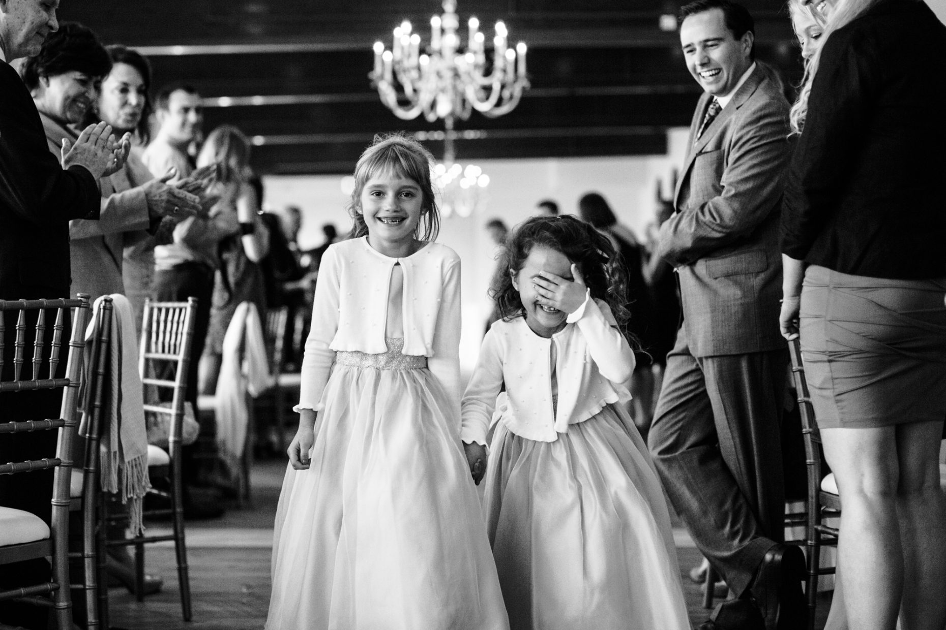 flower girls are shy during the wedding reception introduction