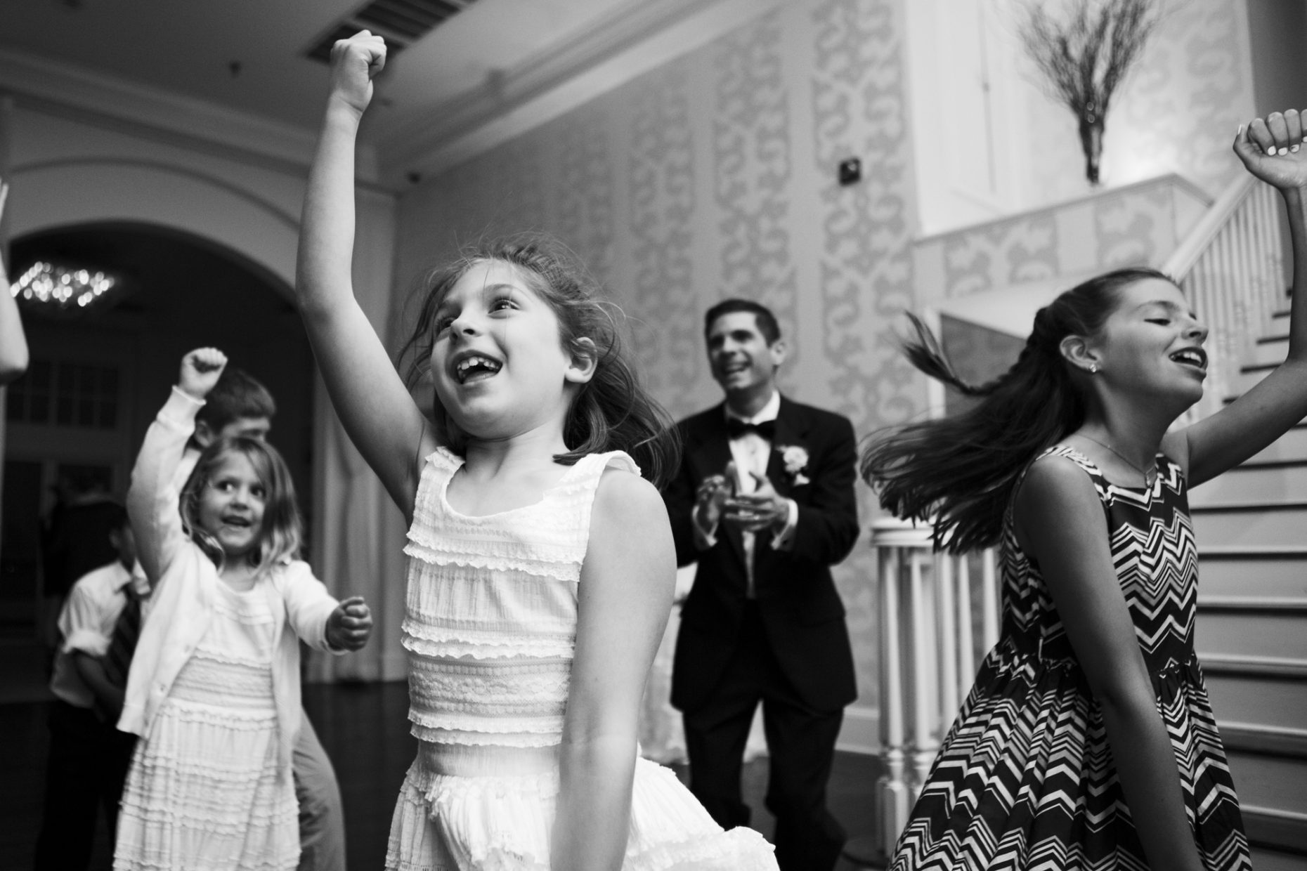 kids dance at a belle mer wedding reception