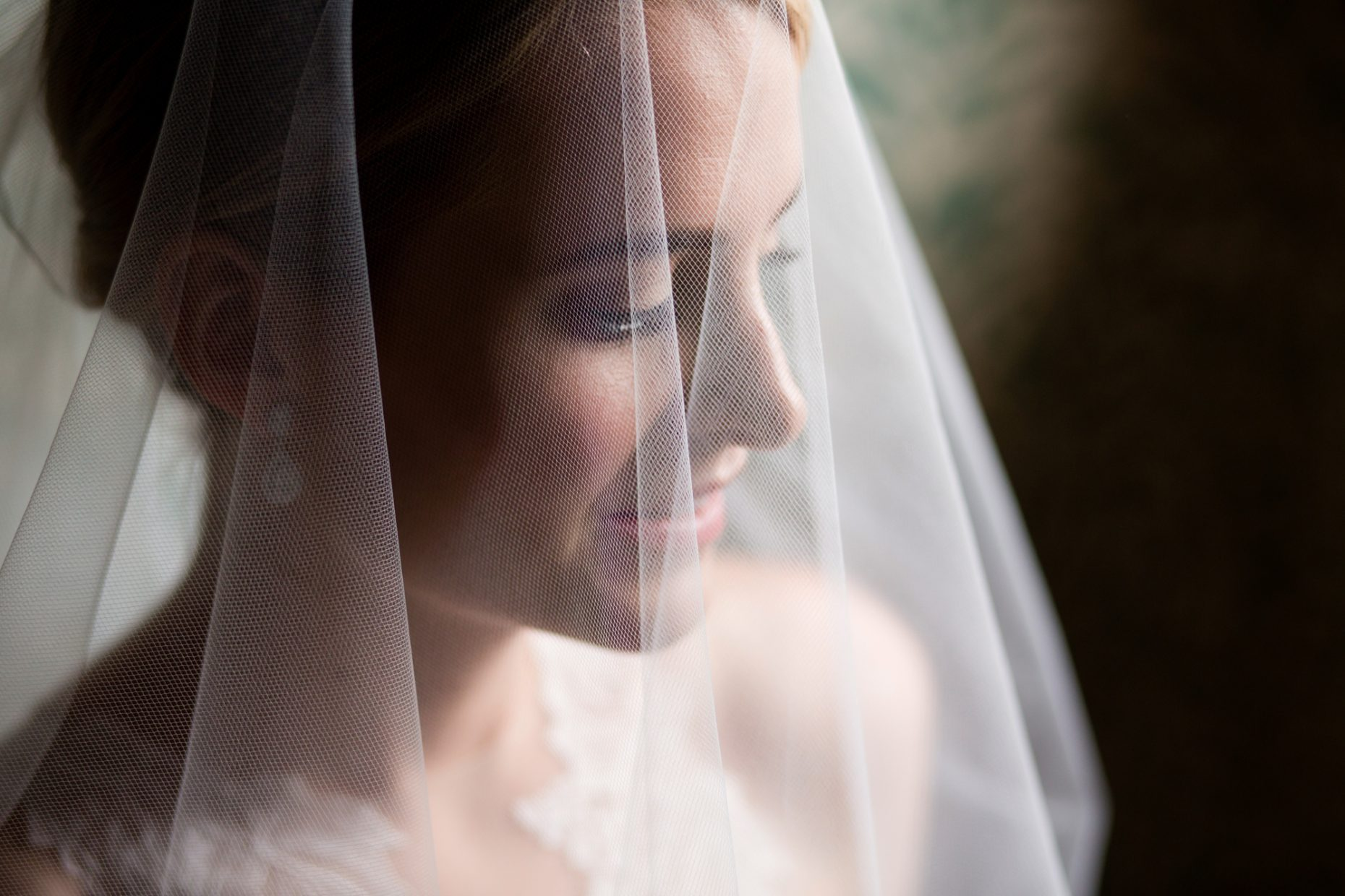 window light portrait of a newport bride