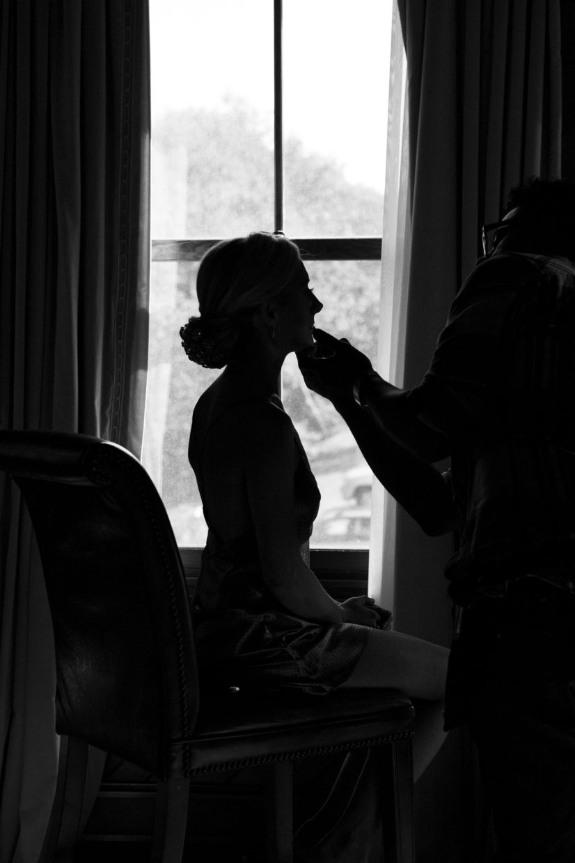 silhouette of a bride getting ready at castle hill inn