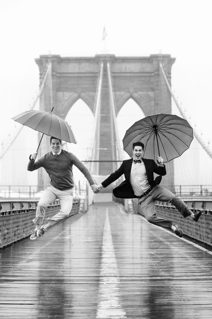 gay engagement session on the brooklyn bridge