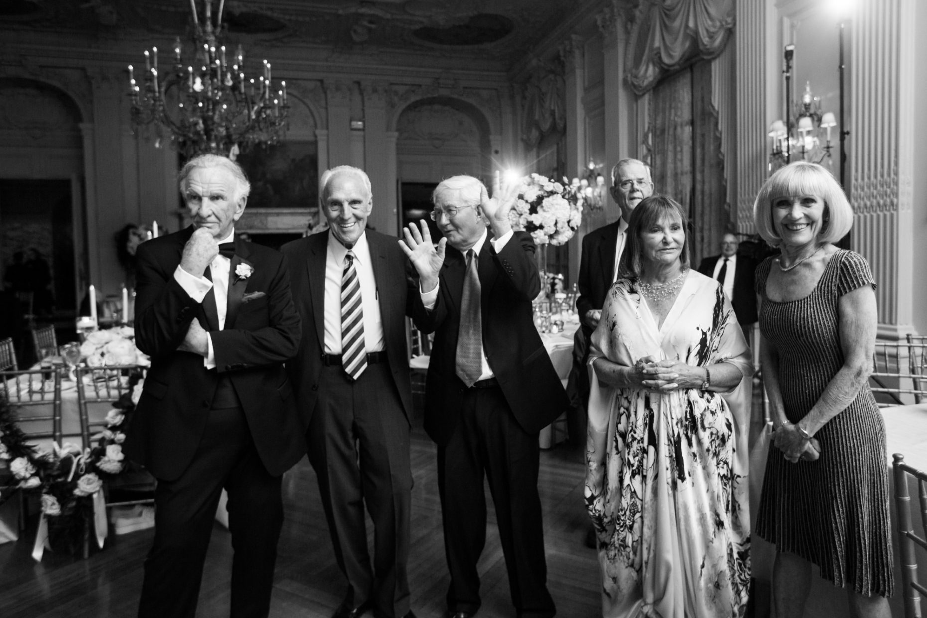 older wedding guests at rosecliff mansion