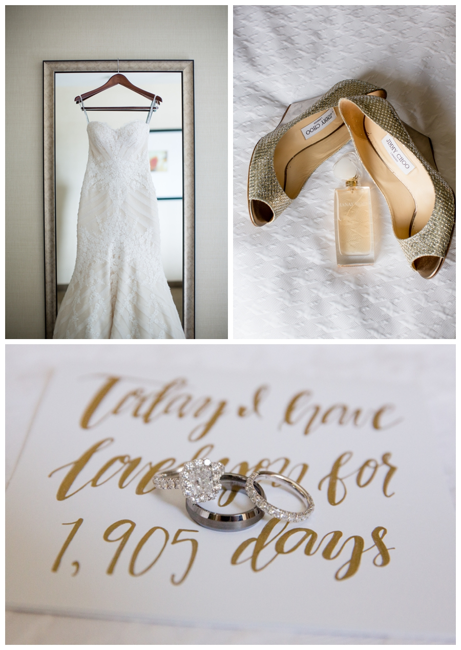 white and gold wedding details - dress, shoes, perfume, wedding rings