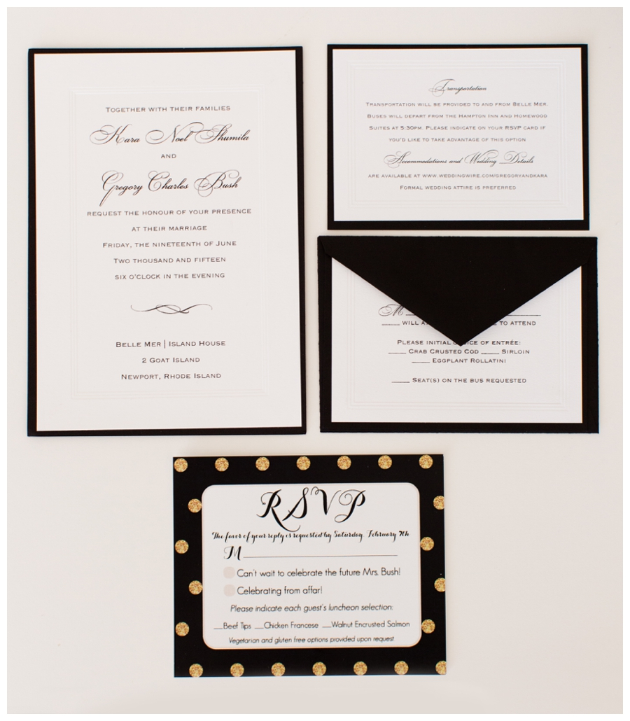 black white and gold polka dot wedding invitation suite