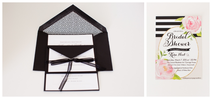 black white and floral wedding invitation suite