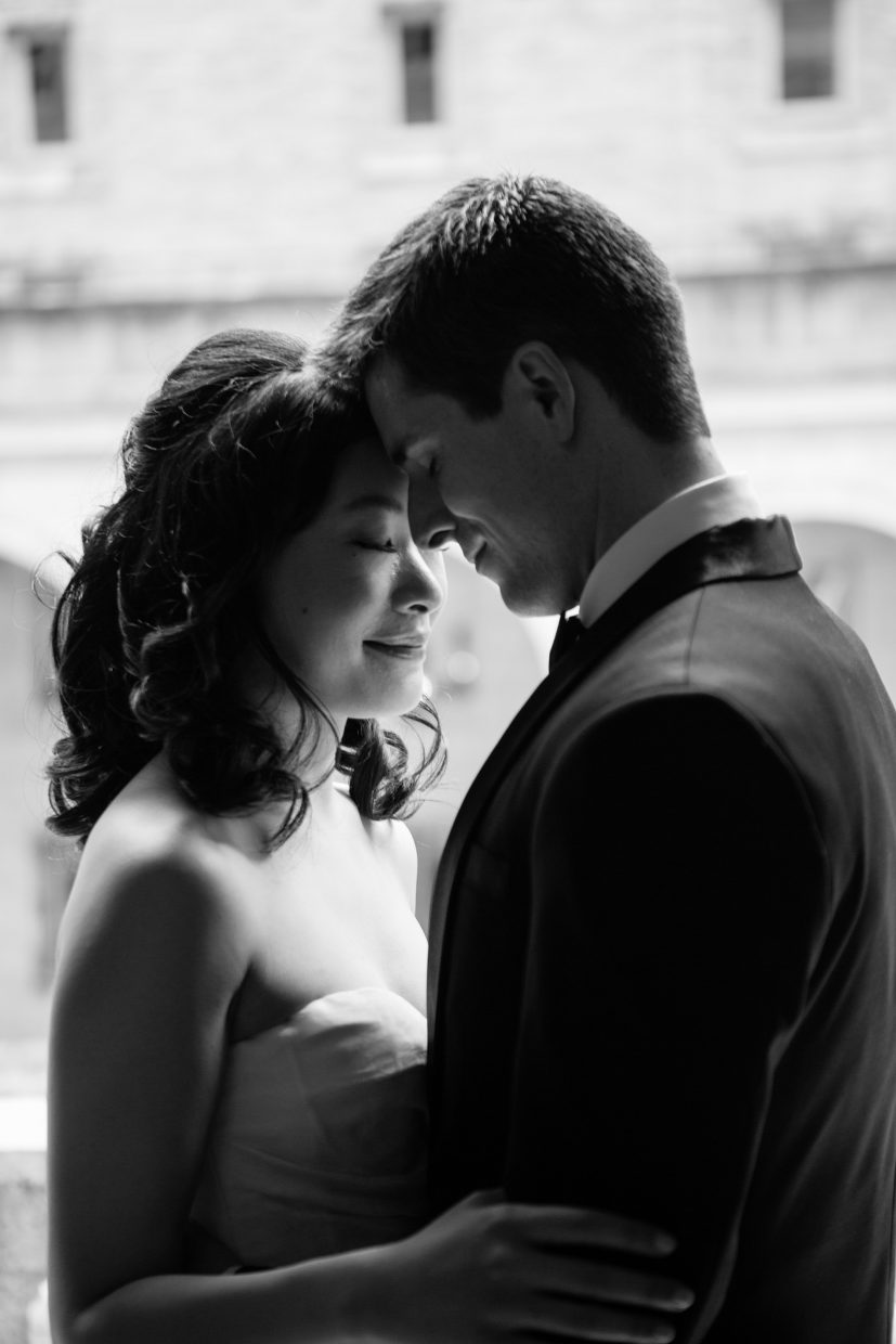 intimate wedding photo at the boston public library in boston