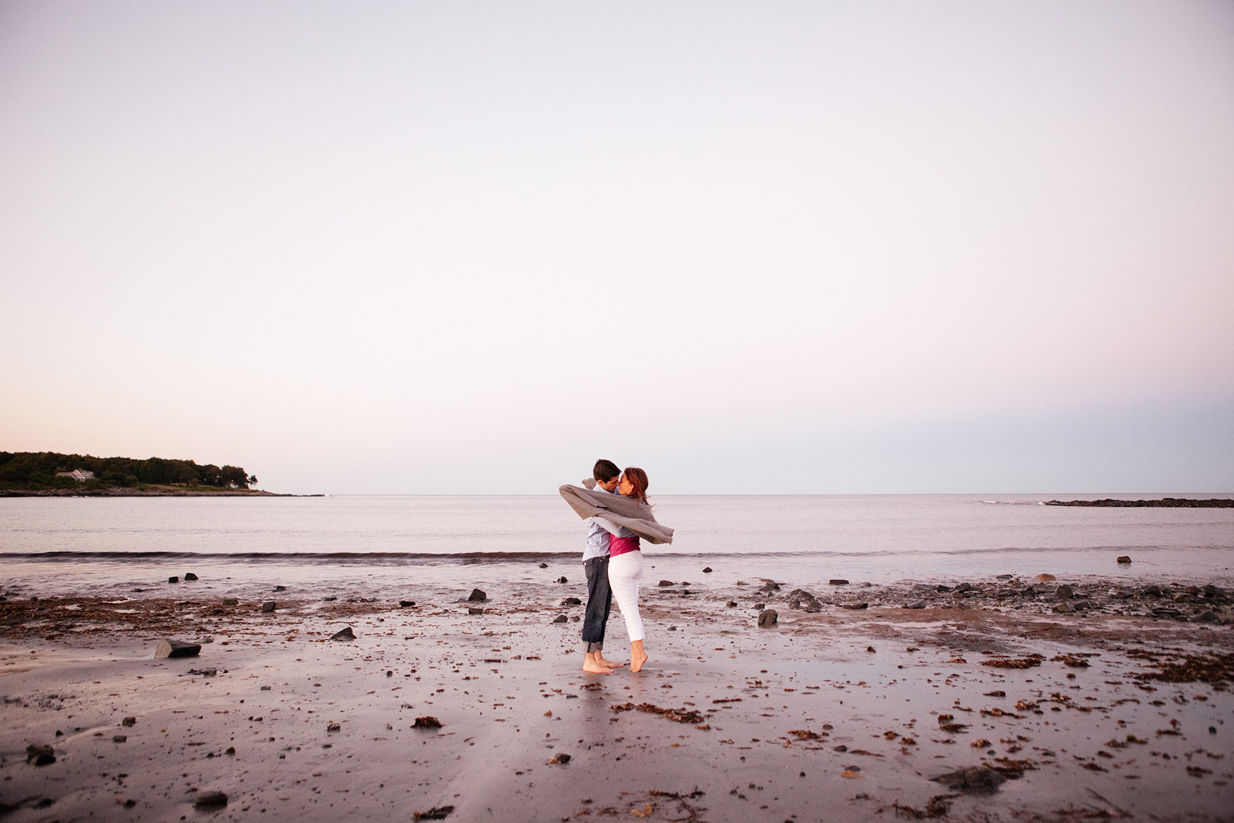 sunset beach engagement photos in maine