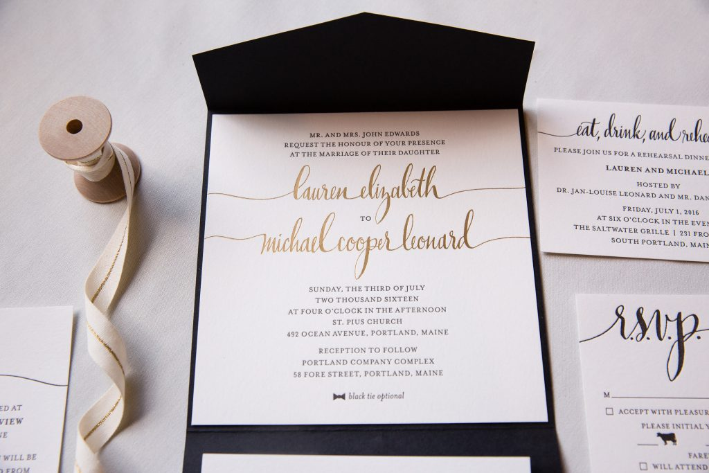 black, white, and gold wedding invitations