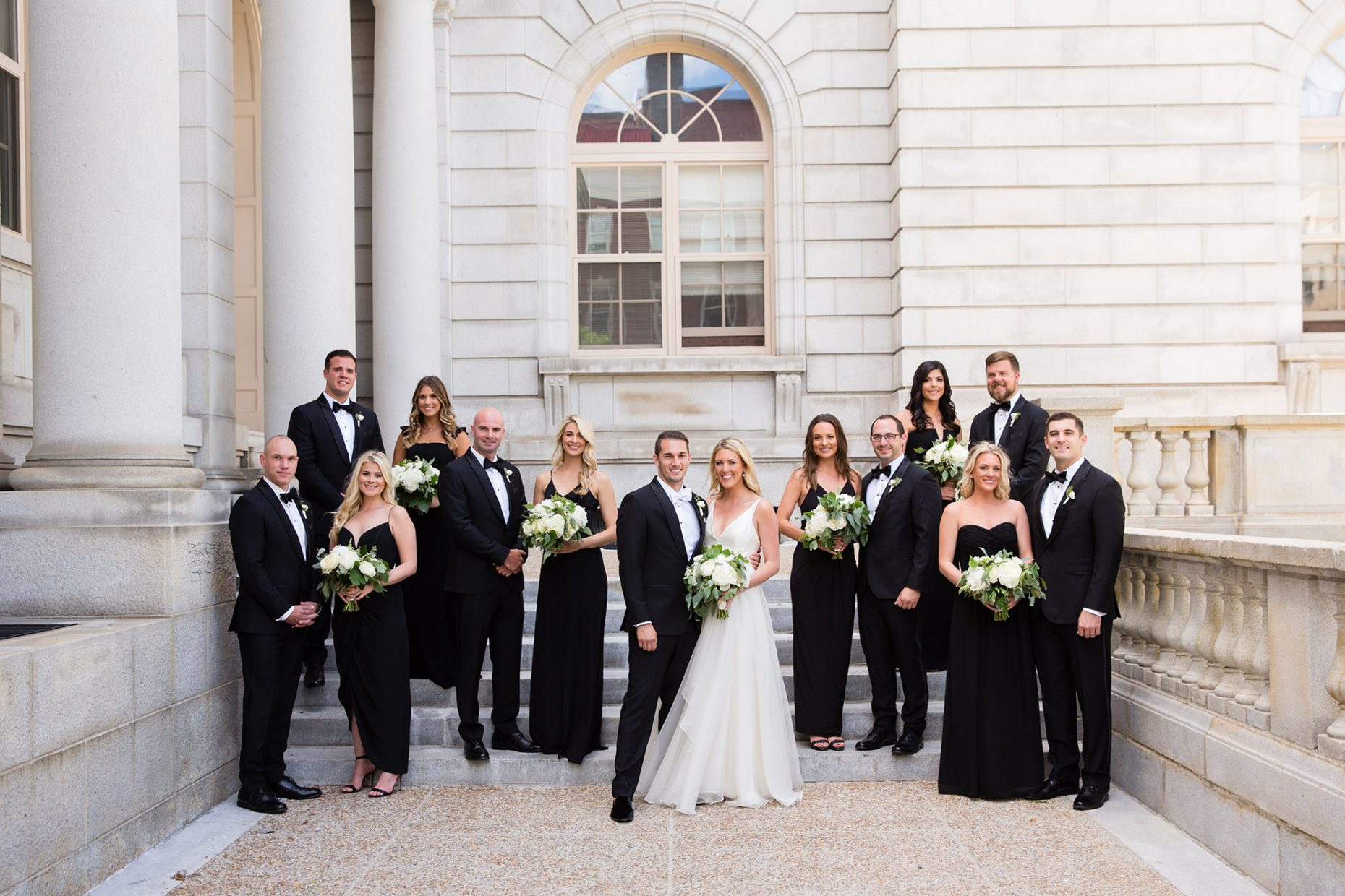 classic wedding party portrait in portland maine