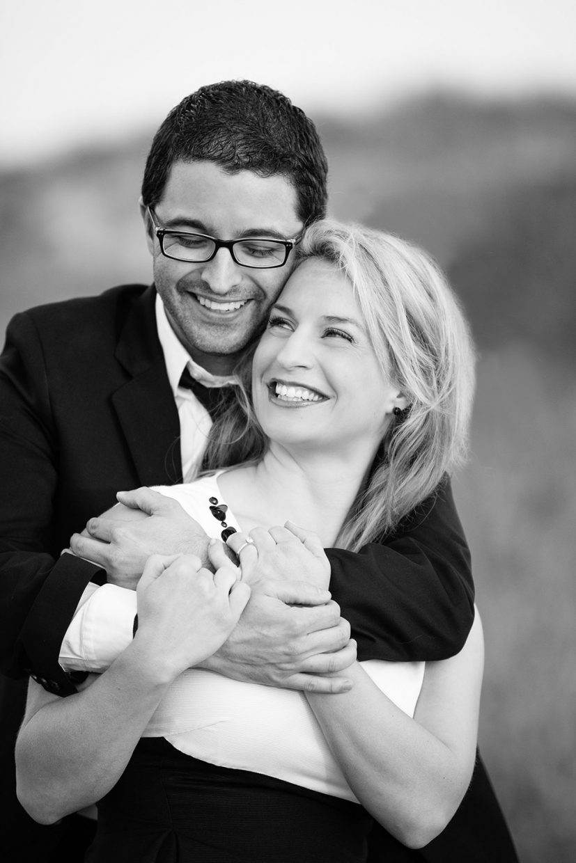black and white engagement photo at horseneck beach in westport ma