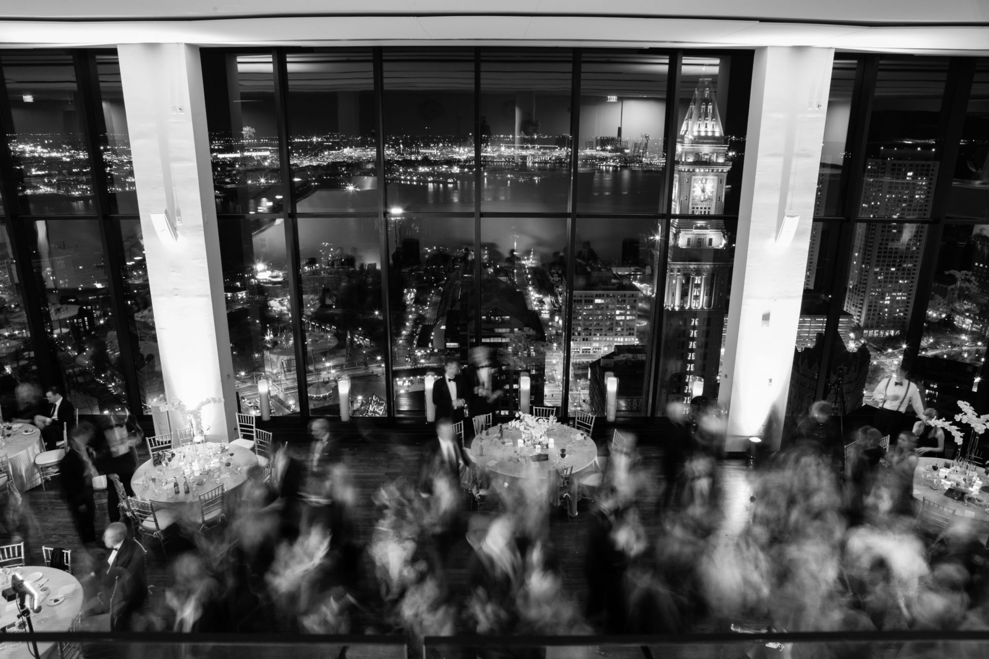 panoramic view of boston during a wedding reception at the state room