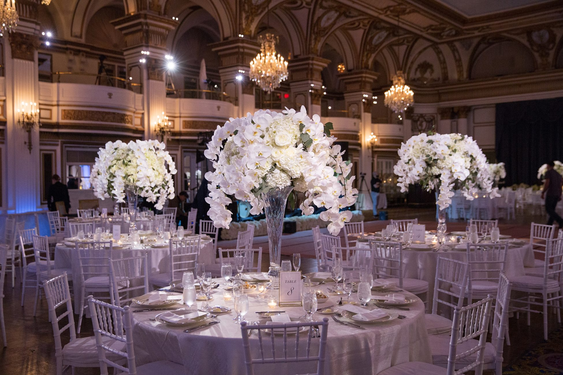 fairmont copley plaza wedding in the ballroom with orchid centerpieces